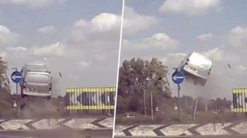 VIDEO: Van Gets Serious Air After Misunderstanding How To Use Roundabouts