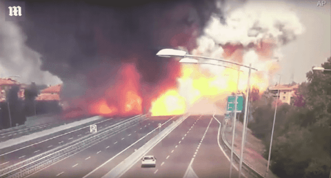 VIDEO: Tanker Crashes, Burns, Then Violently Explodes After Wreck
