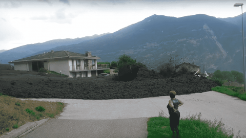 VIDEO: Massive Mudslide Tears Through Town After Overflowing From Trench