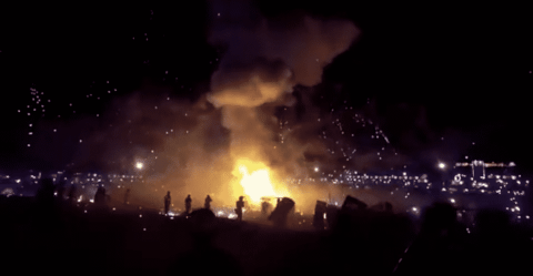 Hot Air Balloon Loaded Full Of Fireworks Explodes Over A Festival Crowd