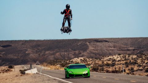 Watch A Jet Hoverboard Race A Lamborghini At Over 100 MPH