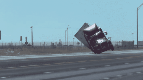Semi Truck Gets Pushed Over By High Winds On The Interstate