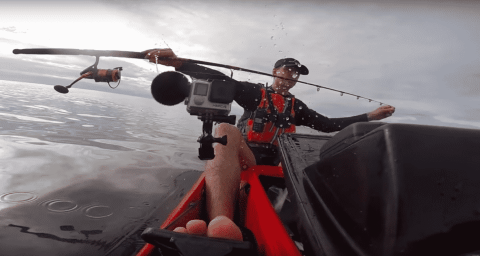 Kayak Fisherman's Catch Has The Last Laugh, Knocks GoPro Into The Ocean