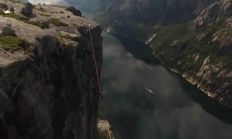 Death-Defying: Tightrope Walker Slips 3,000 Feet High, Between Two Cliffs