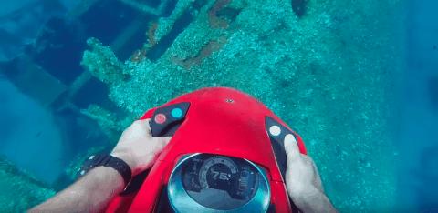 Seabob Exploring Diver Discovers Sunken Ship