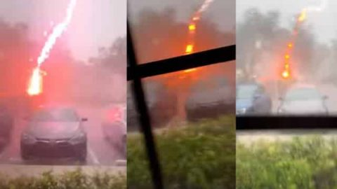 VIDEO: Woman Records Rare 'Positive' Lightning Bolt During Storm