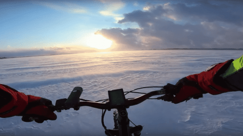 VIDEO: Riding Into A Snowy Sunset May Be The Perfect Way To End Your Day