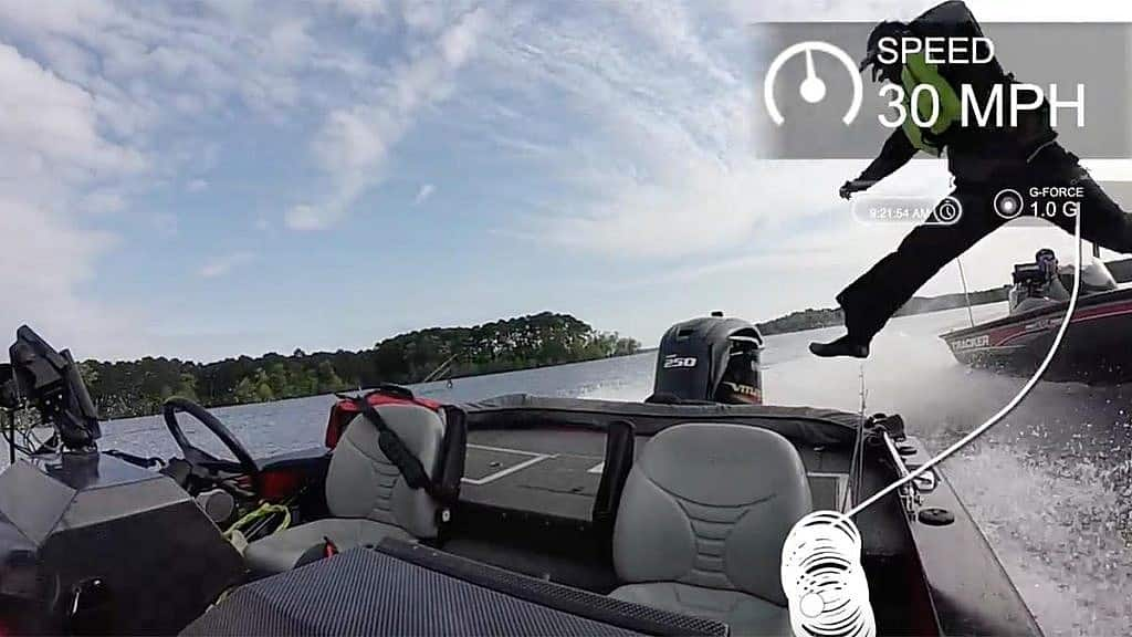 Angler falling out of bass boat boat midair